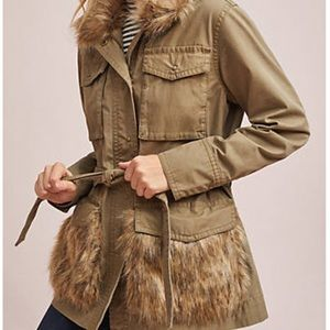Anthropologie Faux Fur-Trimmed Field Parka